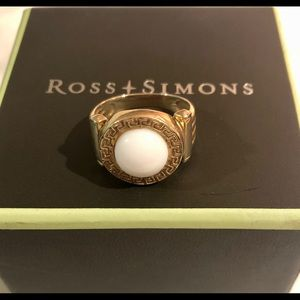 White Agate Gold Over Silver Ring Sz 9 Ross Simons